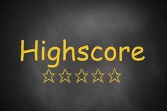 Black chalkboard highscore golden stars Royalty Free Stock Photos