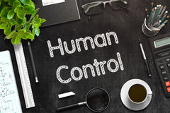Black Chalkboard with Human Control Concept. 3D Rendering. Royalty Free Stock Photography