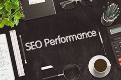 Black Chalkboard with SEO Performance. 3D Rendering. Stock Images