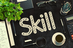 Black Chalkboard with Skill Concept. 3D Rendering. Stock Photo