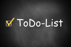 Black chalkboard todo list checkbox checked Stock Image
