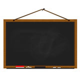 Black chalkboard wood frame rope hanging on nail. Black chalkboard wood frame with rope hanging on nail Stock Photography