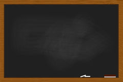 Black chalkboard in wood frame texture Royalty Free Stock Photos