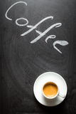 Black chalkboard with the words coffee and espresso royalty free stock photos