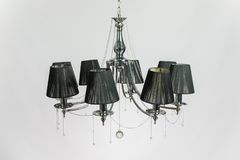 Black Chandelier Silver Gray. Chandelier with black plafonds and crystal silver gray royalty free stock image