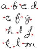 Black charcoal alphabet Stock Photos