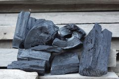 Charcoal. Black charcoal on wood Royalty Free Stock Photo