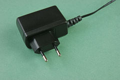 Black charger adapter with plug Royalty Free Stock Image