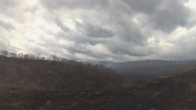 Black charred trees and grass in the smoke after the fire in the valley the gloomy clouds background. stock video footage
