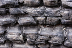 Black charred wood. Burned tree texture background. Burnt log  pattern. Stock Images
