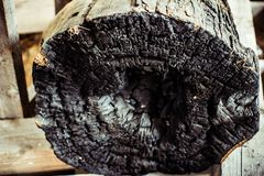 A charred log on the inside burnt stock image