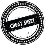 Black CHEAT SHEET distressed rubber stamp with grunge texture. Illustration Stock Photography