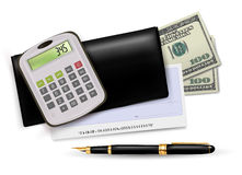 Black checkbook with check, calculator and dollars Stock Photos