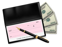 Black checkbook with check, pen and dollars Royalty Free Stock Photo