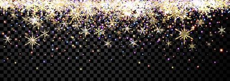 Black shining banner with snowflakes. Black checkered shining Christmas banner with golden snowflakes. Vector illustration Stock Photo