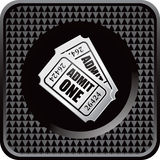 Black checkered web button with admission tickets. Admission tickets on black checkered web button stock illustration