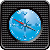 Black checkered web button with compass Royalty Free Stock Photography
