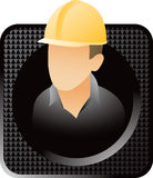 Black checkered web button with construction worke Stock Photo
