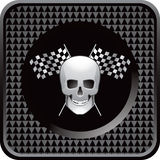 Black checkered web icon racing flags and skull Royalty Free Stock Images