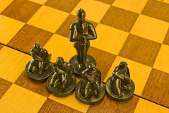 Black chees figure. The black chees figure pawn and offecer or elephant Royalty Free Stock Photos