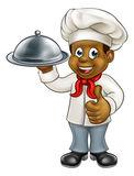 Black Chef Cartoon Character with Platter Stock Photos