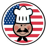 Black chef face over an american flag circle Stock Photos