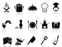 Black chef icons set Stock Photos