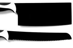Black chef's large knife for meat and bread isolated on white royalty free stock image
