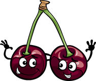 Black cherry fruits cartoon illustration Royalty Free Stock Photo