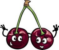 Black cherry fruits cartoon illustration Royalty Free Stock Photo