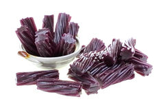 Black Cherry Licorice Sticks Dish Foreground Royalty Free Stock Images