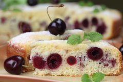 Black cherry sponge cake Royalty Free Stock Images