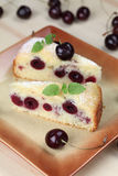 Black cherry sponge cake Stock Photo