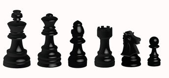 Black chess. Illustration of the black  pieces of chess Stock Photography