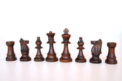 Black chess army. Black chess pieces getting ready for the games Stock Image