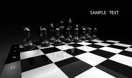 Black chess on a black 3d render Royalty Free Stock Photography