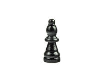 Black Chess Figure on White - Bishop. Close up of a black bishop Stock Images