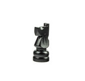 Black Chess Figure on White - Knight. Black knight isolated on white Royalty Free Stock Photo