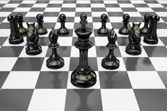 Black chess figures on chessboard, 3D rendering. Black chess figures on chessboard, 3D Stock Images