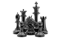 Black chess figures, 3D rendering. On white background Royalty Free Stock Photography