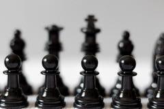 Black chess figures on white background stock image