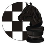 Chess horse and icon. Black chess horse with round banner of chessfield vector illustration