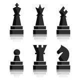 Black chess icons set. Chess board figures. Illustration chess pieces. Nine different objects including king, queen Royalty Free Stock Photography