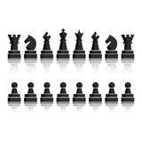 Black chess icons set. Chess board figures. Stock Illustration
