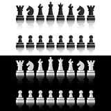 Black chess icons set. Chess board figures. Vector illustration chess pieces. Royalty Free Illustration