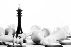 Black chess king among fallen enemies. Winner and losers Royalty Free Stock Images