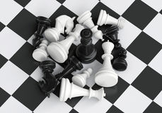 Black chess king in the midst of battle Royalty Free Stock Image