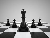 Black chess king and pawns Stock Image