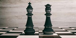 Black chess king and queen on a chessboard. 3d illustration. Black chess king and queen on a chess board, wooden background. 3d illustration Stock Photography