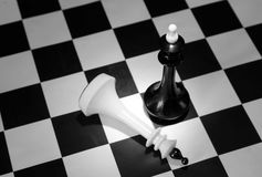 Black chess king won the white one. Concept with chess pieces on a chessboard Royalty Free Stock Images